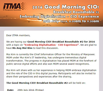 Good Morning CIO! Breakfast Roundtable #2 - 29th July 2016, 8.00am